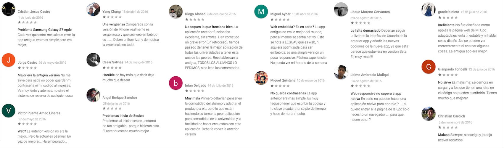 Play Store reviews, all of them are 1 star